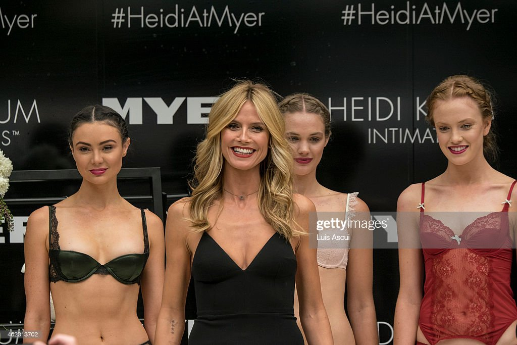 Heidi Klum attends Myers launch of her Intimates Collection at Myer Bourke Street Mall on January 27, 2015 in Melbourne, Australia.