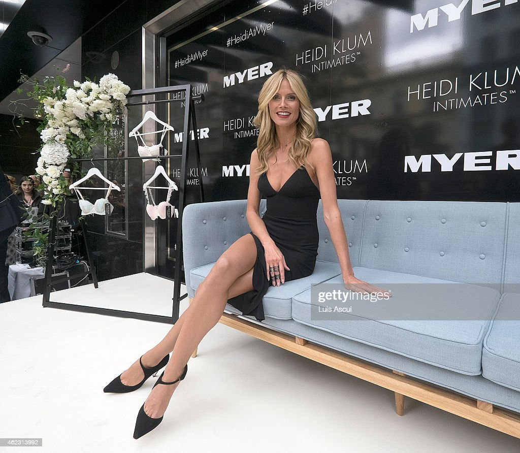 <a gi-track='captionPersonalityLinkClicked' href=/galleries/search?phrase=Heidi+Klum&family=editorial&specificpeople=178954 ng-click='$event.stopPropagation()'>Heidi Klum</a> attends Myers launch of her Intimates Collection at Myer Bourke Street Mall on January 27, 2015 in Melbourne, Australia.