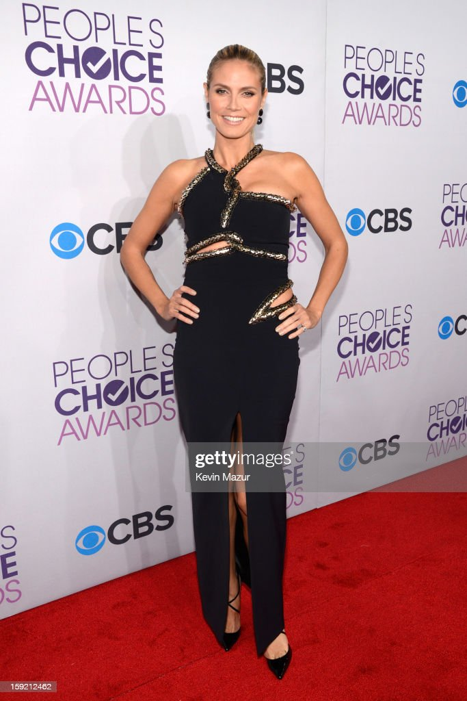 <a gi-track='captionPersonalityLinkClicked' href=/galleries/search?phrase=Heidi+Klum&family=editorial&specificpeople=178954 ng-click='$event.stopPropagation()'>Heidi Klum</a> attends the 2013 People's Choice Awards at Nokia Theatre L.A. Live on January 9, 2013 in Los Angeles, California.