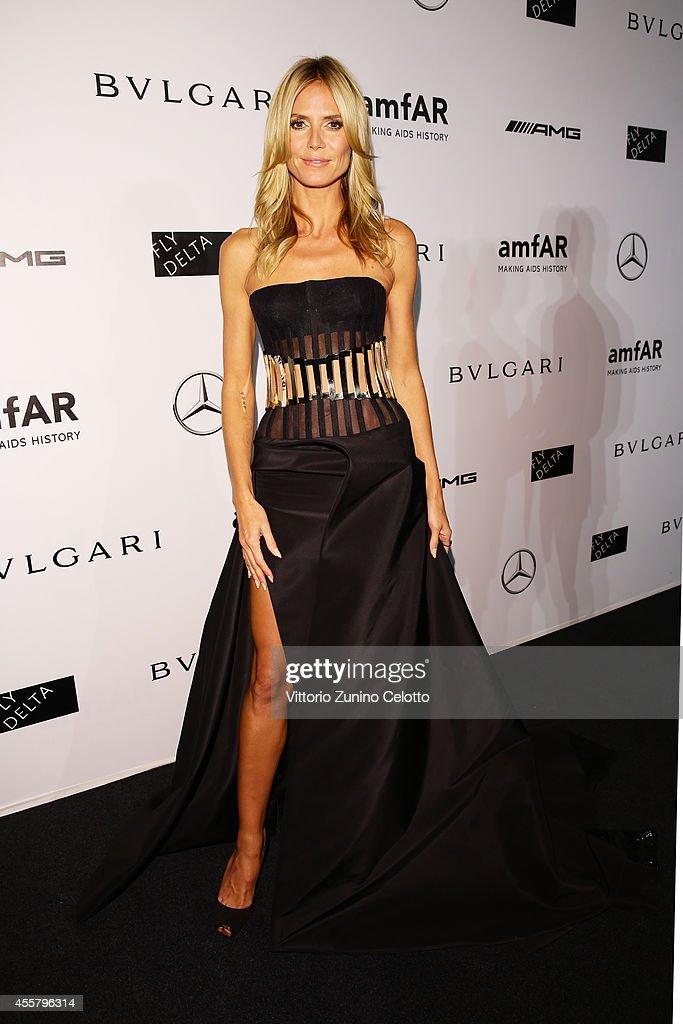 Heidi Klum attends the amfAR Milano 2014 - Gala as part of Milan Fashion Week Womenswear Spring/Summer 2015 on September 20, 2014 in Milan, Italy.