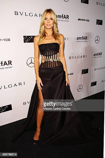 Heidi Klum attends the amfAR Milano 2014 Gala as part of Milan Fashion Week Womenswear Spring/Summer 2015 on September 20 2014 in Milan Italy