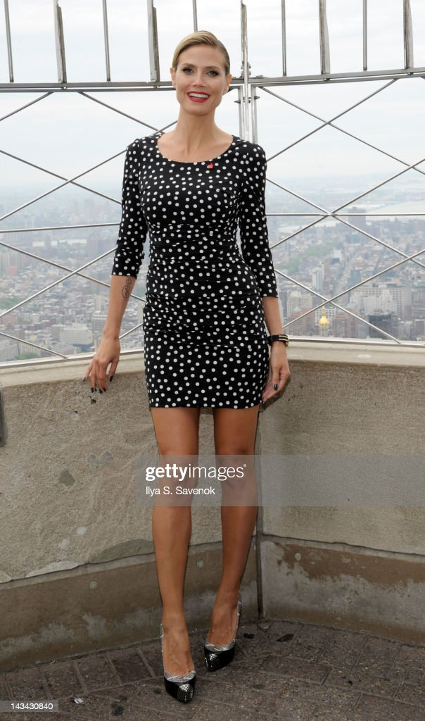 <a gi-track='captionPersonalityLinkClicked' href=/galleries/search?phrase=Heidi+Klum&family=editorial&specificpeople=178954 ng-click='$event.stopPropagation()'>Heidi Klum</a> attends the Empire State Building Lighting Ceremony honoring DKMS on April 26, 2012 in New York, United States.