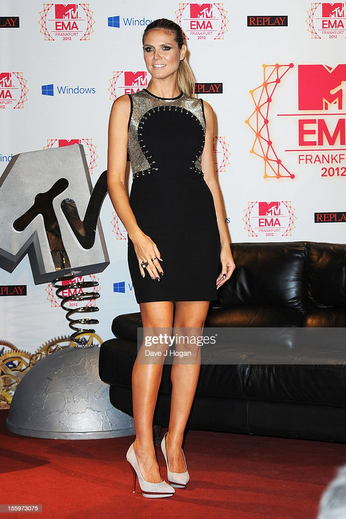 <a gi-track='captionPersonalityLinkClicked' href=/galleries/search?phrase=Heidi+Klum&family=editorial&specificpeople=178954 ng-click='$event.stopPropagation()'>Heidi Klum</a> attends the photocall ahead of the MTV EMA's 2012 at Frankfurt City Hall on November 10, 2012 in Frankfurt am Main, Germany.