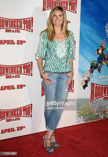 Heidi Klum attends the premiere of 'Hoodwinked Too Hood Vs Evil' at Pacific Theatre at The Grove on April 16 2011 in Los Angeles California