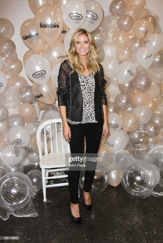 <a gi-track='captionPersonalityLinkClicked' href=/galleries/search?phrase=Heidi+Klum&family=editorial&specificpeople=178954 ng-click='$event.stopPropagation()'>Heidi Klum</a> attends the Truly Scrumptious for Babies 'R' Us designed by <a gi-track='captionPersonalityLinkClicked' href=/galleries/search?phrase=Heidi+Klum&family=editorial&specificpeople=178954 ng-click='$event.stopPropagation()'>Heidi Klum</a> at Vogue Bambini petiteParade Kids Fashion Week on October 5, 2013 in New York City.