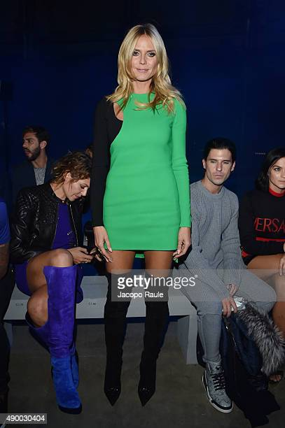 Heidi Klum attends the Versace show during the Milan Fashion Week Spring/Summer 2016 on September 25 2015 in Milan Italy
