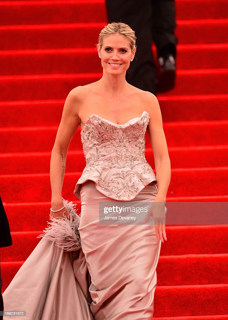 Heidi Klum departs the Costume Institute Gala for the 'PUNK: Chaos to Couture' exhibition at the Metropolitan Museum of Art on May 6, 2013 in New York City.