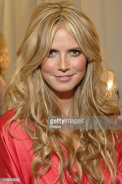 Heidi Klum during 10th Victoria's Secret Fashion Show Hair and Makeup at The New York State Armory in New York City New York United States