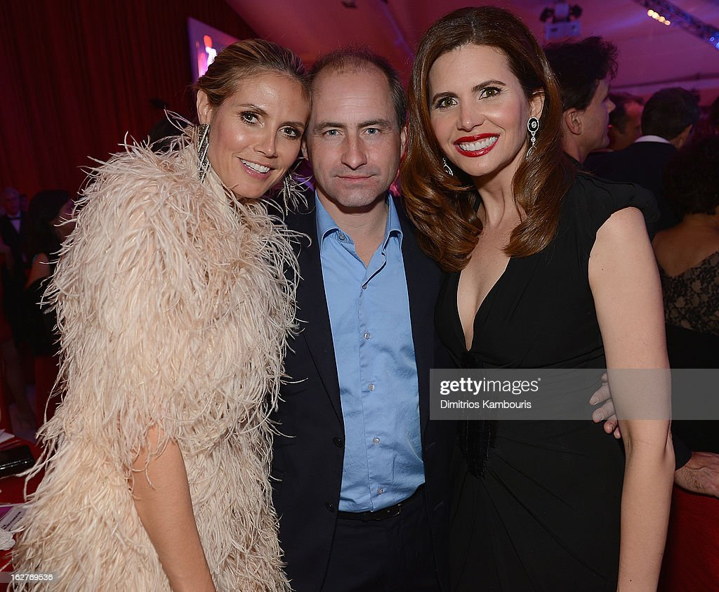 Heidi Klum, Edouard Brault and Desiree Gruber attend the 21st Annual Elton John AIDS Foundation Academy Awards Viewing Party at West Hollywood Park on February 24, 2013 in West Hollywood, California.