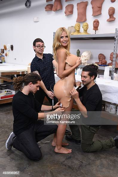 Heidi Klum gives a sneak peek of her Halloween costume for her annual party at LAVO sponsored by GSN's Hellevator and SVEDKA Vodka on October 19 2015...