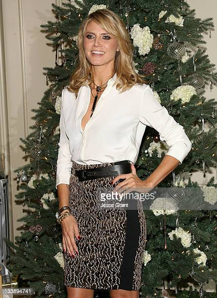 Heidi Klum goes WILD holiday shopping with her Wildlife by Heidi Klum jewelry for QVC at The Four Seasons Hotel on November 21 2011 in Beverly Hills...