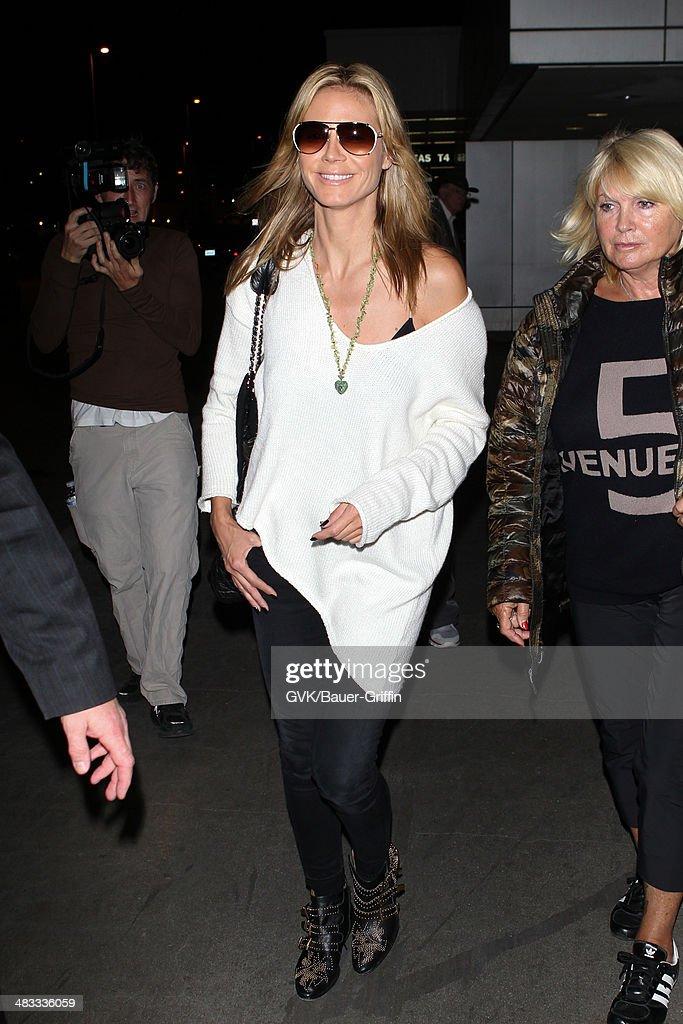 Heidi Klum is seen at LAX on April 07, 2014 in Los Angeles, California.