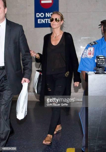 Heidi Klum is seen at LAX on April 18 2014 in Los Angeles California