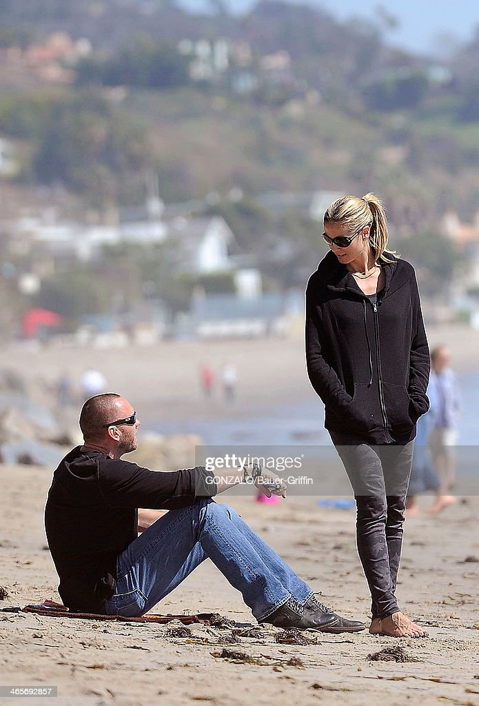 Heidi Klum is seen at the beach with Martin Kristen on March 10 2013 in Los Angeles California