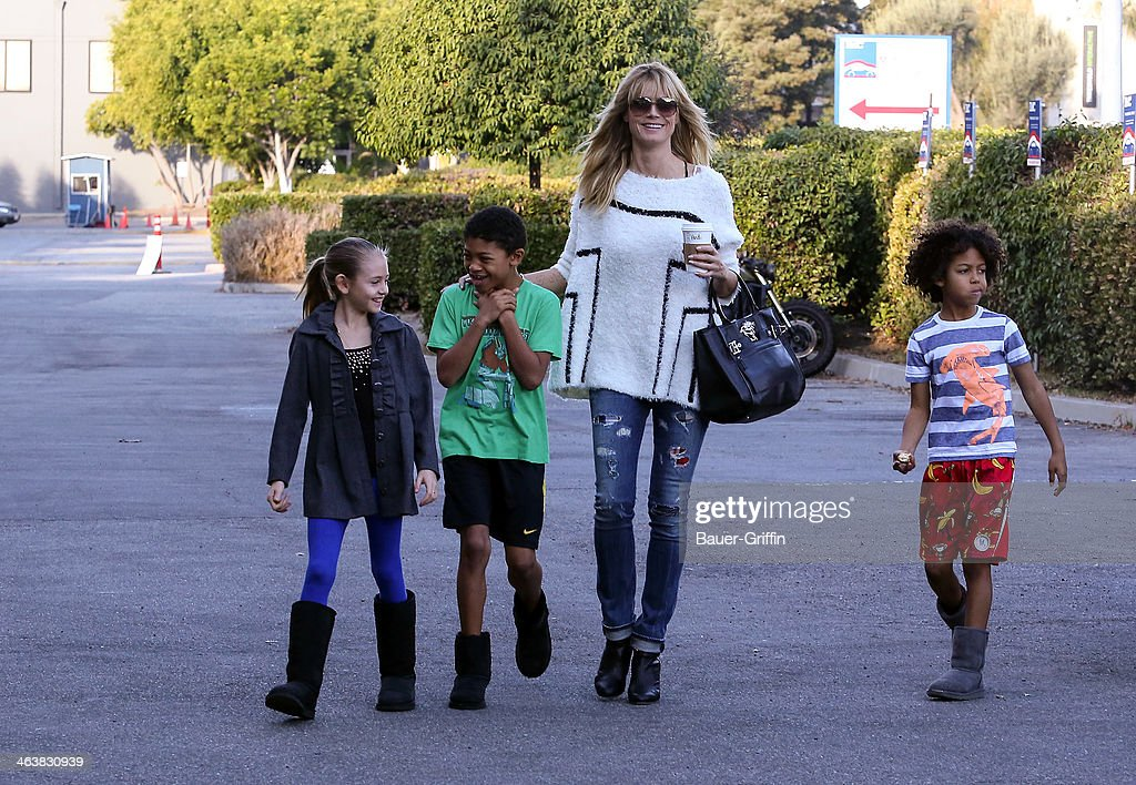Heidi Klum is seen getting coffee with her children Leni Samuel Henry Samuel and Johan Samuel on January 19 2014 in Los Angeles California