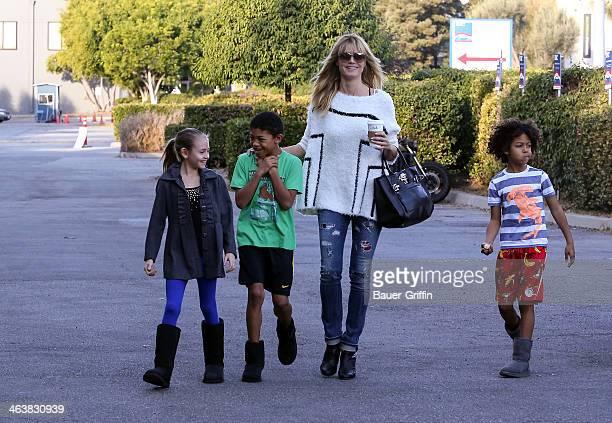 Heidi Klum is seen getting coffee with her children Leni Samuel Henry Samuel and Johan Samuel on January 19 2014 in Los Angeles California