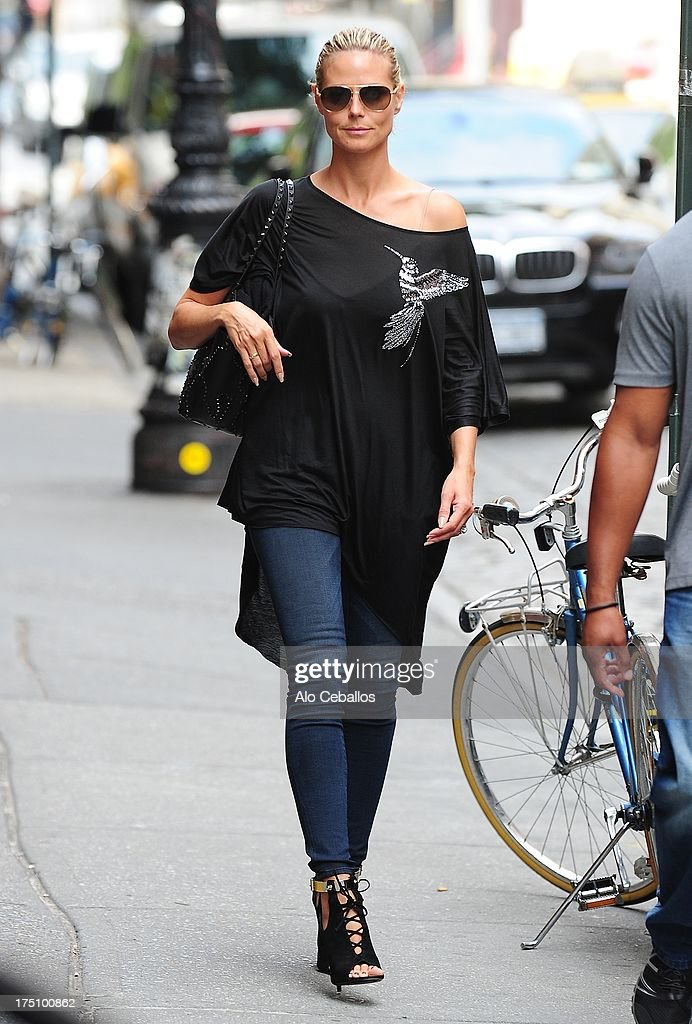 <a gi-track='captionPersonalityLinkClicked' href=/galleries/search?phrase=Heidi+Klum&family=editorial&specificpeople=178954 ng-click='$event.stopPropagation()'>Heidi Klum</a> is seen in Soho on July 31, 2013 in New York City.
