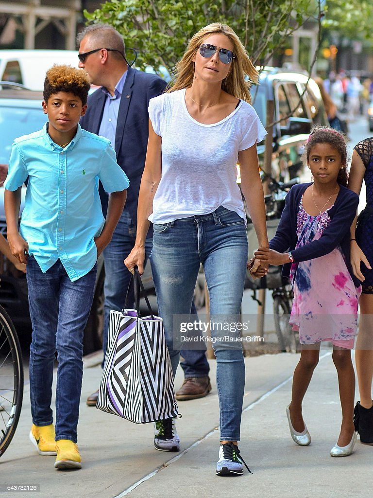 Heidi Klum is seen with her children Henry and Lou on June 29 2016 in New York City