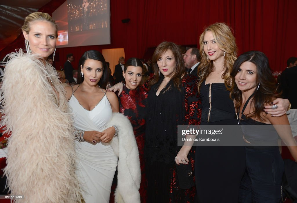 Heidi Klum, Kim Kardashian, Courtney Kardashian, Lorraine Schwartz, Ofira Sandberg and guest attend the 21st Annual Elton John AIDS Foundation Academy Awards Viewing Party at West Hollywood Park on February 24, 2013 in West Hollywood, California.
