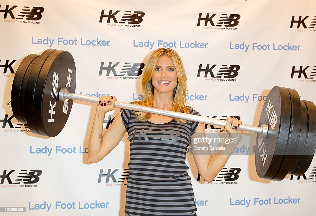 <a gi-track='captionPersonalityLinkClicked' href=/galleries/search?phrase=Heidi+Klum&family=editorial&specificpeople=178954 ng-click='$event.stopPropagation()'>Heidi Klum</a> launches her new <a gi-track='captionPersonalityLinkClicked' href=/galleries/search?phrase=Heidi+Klum&family=editorial&specificpeople=178954 ng-click='$event.stopPropagation()'>Heidi Klum</a> for New Balance Collection at Lady Foot Locker on March 14, 2013 in Culver City, California.