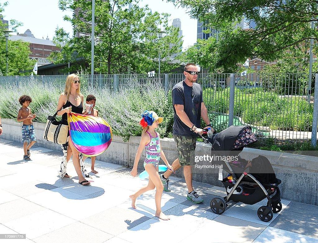 Heidi Klum, Leni Samuel, Martin Kristen, Henry Samuel and Johan Samuel are seen at the Westside Park on June 20, 2013 in New York City.