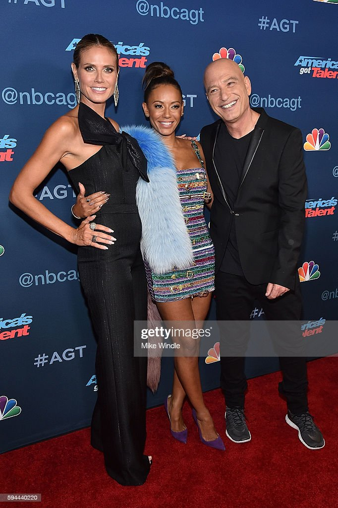 Heidi Klum, Mel B and Howie Mandel attend the 'America's Got Talent' Season 11 Live Show at Dolby Theatre on August 23, 2016 in Hollywood, California.