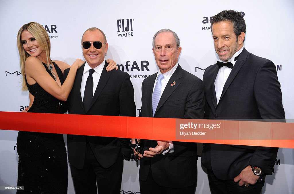 Heidi Klum, Michael Kors, Michael Bloomberg and Kenneth Cole attend the amfAR New York Gala to kick off Fall 2013 Fashion Week at Cipriani Wall Street on February 6, 2013 in New York City.