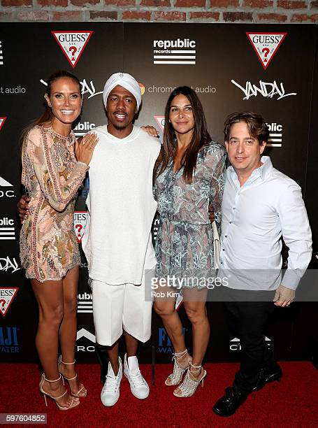 Heidi Klum Nick Cannon guest and Charlie Walk attend a celebration with Republic Records and Guess after the 2016 MTV Video Music Awards at Vandal...