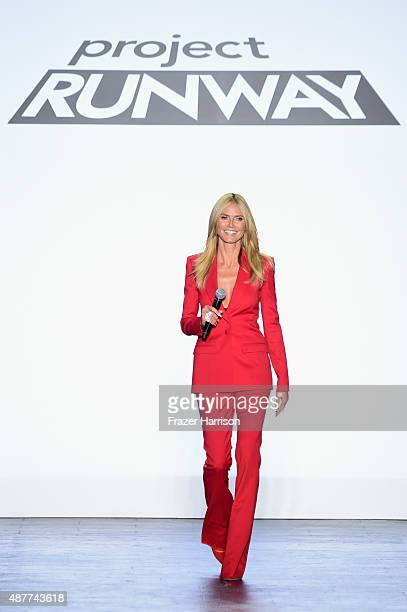 Heidi Klum speaks at the Project Runway fashion show during Spring 2016 New York Fashion Week The Shows at The Arc Skylight at Moynihan Station on...