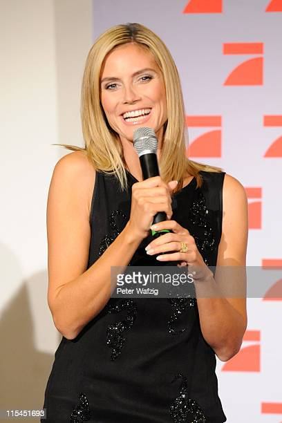 Heidi Klum speaks during the finalists photocall of 'Germany's Next Topmodel' at the LanxessArena on June 07 2011 in Cologne Germany