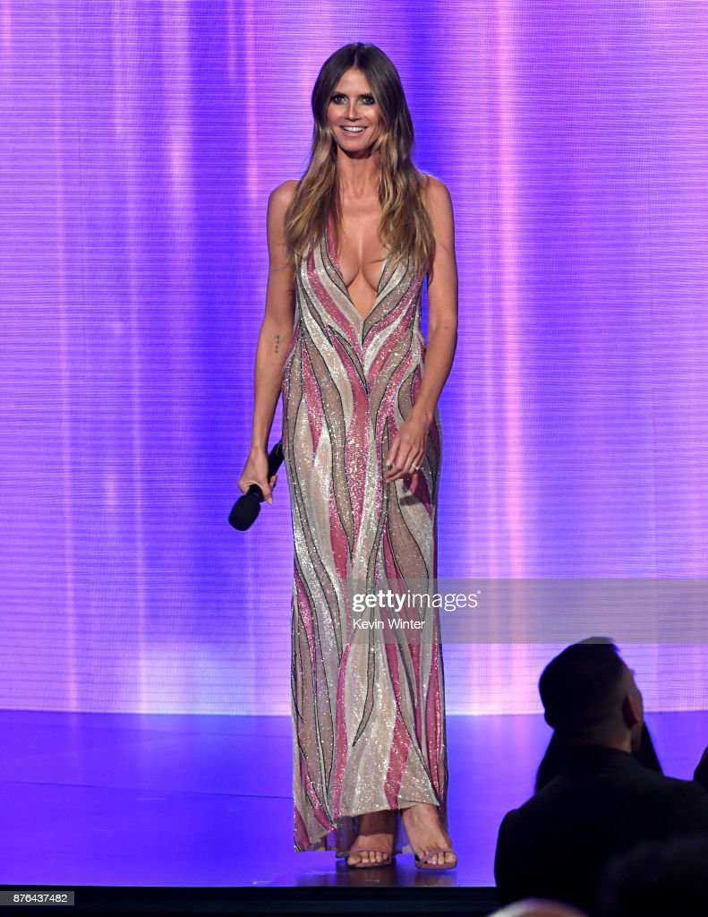 Heidi Klum speaks onstage during the 2017 American Music Awards at Microsoft Theater on November 19, 2017 in Los Angeles, California.