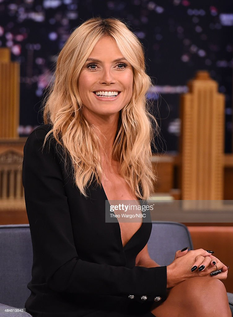 <a gi-track='captionPersonalityLinkClicked' href=/galleries/search?phrase=Heidi+Klum&family=editorial&specificpeople=178954 ng-click='$event.stopPropagation()'>Heidi Klum</a> Visits 'The Tonight Show Starring Jimmy Fallon' at Rockefeller Center on August 19, 2015 in New York City.