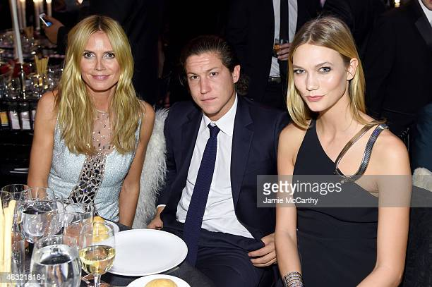 Heidi Klum Vito Schnabel and Karlie Kloss attend the 2015 amfAR New York Gala at Cipriani Wall Street on February 11 2015 in New York City