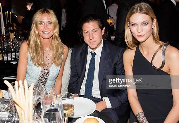 Heidi Klum Vito Schnabel and Karlie Kloss attend the 2015 amfAR New York Gala at Cipriani Wall Street on February 11 2015 in New York City
