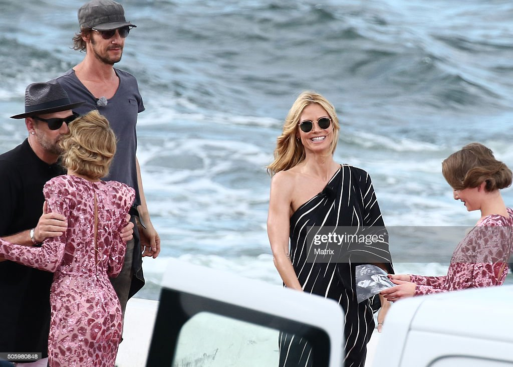 Heidi Klum with fellow Next Top Model judges, Michael Michaelsky and Thomas Hayo during filming on January 21, 2016 in Sydney, Australia.