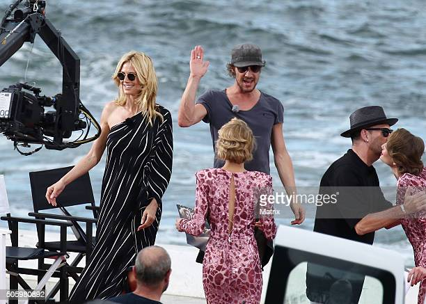 Heidi Klum with fellow Next Top Model judges Michael Michaelsky and Thomas Hayo during filming on January 21 2016 in Sydney Australia