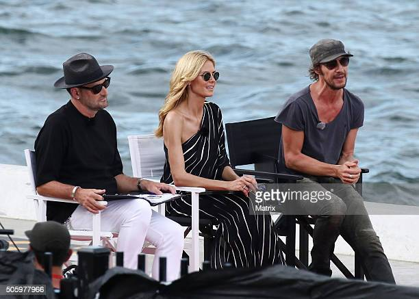 Heidi Klum with fellow Next Top Model judges Thomas Hayo and Michael Michaelsky on January 21 2016 in Sydney Australia
