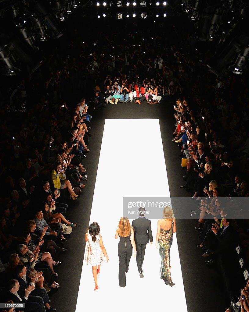 Heidi Klum Zac Posen, Nina Garcia and Kerry Washington walk on the runway during Mercedes-Benz Fashion Week Spring 2014 on September 6, 2013 in New York City.