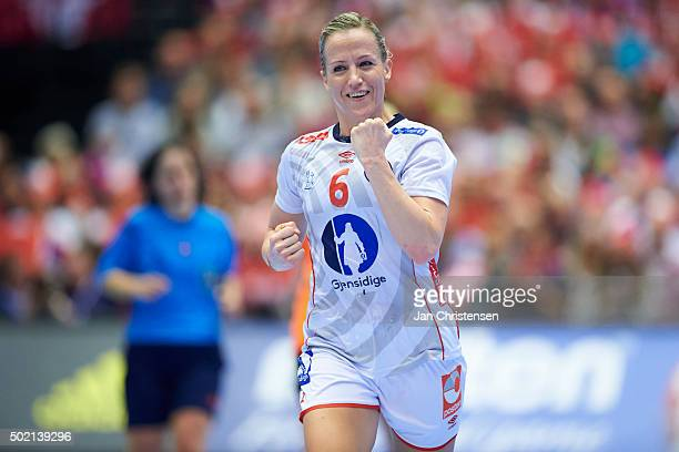 Heidi Loke of Norway celebrates after goal during the 22nd IHF Women's Handball World Championship Gold Medal match between Netherlands and Norway in...