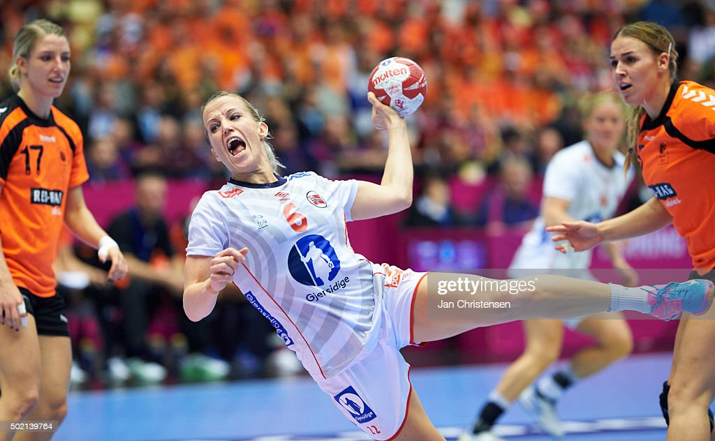 <a gi-track='captionPersonalityLinkClicked' href=/galleries/search?phrase=Heidi+Loke&family=editorial&specificpeople=6331820 ng-click='$event.stopPropagation()'>Heidi Loke</a> of Norway in action during the 22nd IHF Women's Handball World Championship Gold Medal match between Netherlands and Norway in Jyske Bank Boxen on December 20, 2015 in Herning, Denmark.