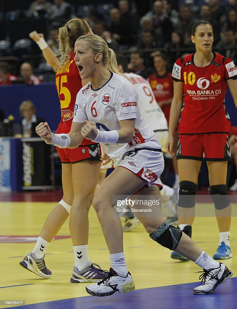 Heidi Loke (L) of Norway reacts during the Women's European Handball Championship 2012 gold medal match between Norway and Montenegro at Arena Hall on December 16, 2012 in Belgrade, Serbia.