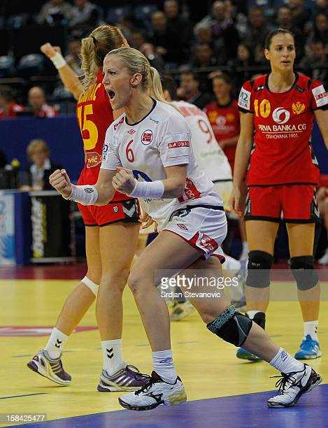 Heidi Loke of Norway reacts during the Women's European Handball Championship 2012 gold medal match between Norway and Montenegro at Arena Hall on...