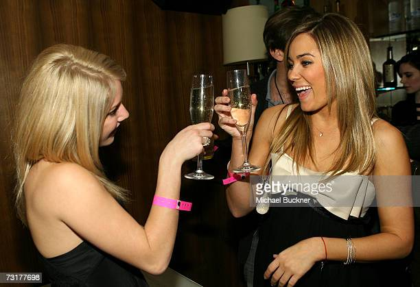 ACCESS*** Heidi Montag and Lauren Conrad toast to champagne as mark celebrates new spokesperson Lauren Conrad's 21st birthday at Area on February 1...