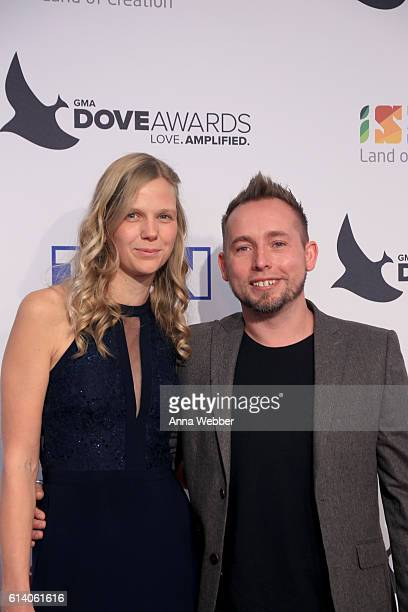 Heidi Mulligan and Darren Mulligan of We Are Messangers arrive at the 2016 Dove Awards at Allen Arena Lipscomb University on October 11 2016 in...