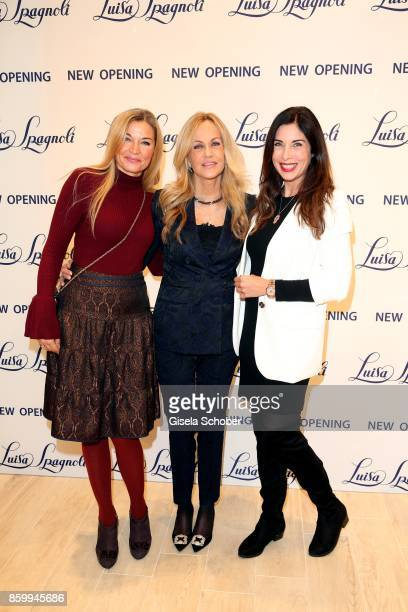Heidi Ramskugler Nicoletta Spagnoli and Alexandra Polzin during the Luisa Spagnoli boutique opening Munich at Preysing Palais on October 10 2017 in...