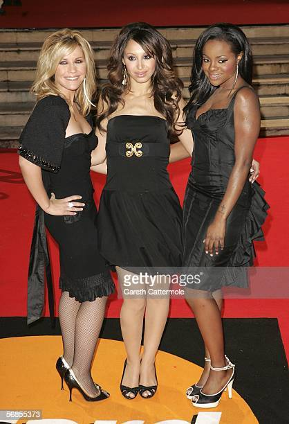 Heidi Range Amelle Berrabah and Keisha Buchanan of the Sugababes arrive at The Brit Awards 2006 with MasterCard at Earls Court 1 on February 15 2006...