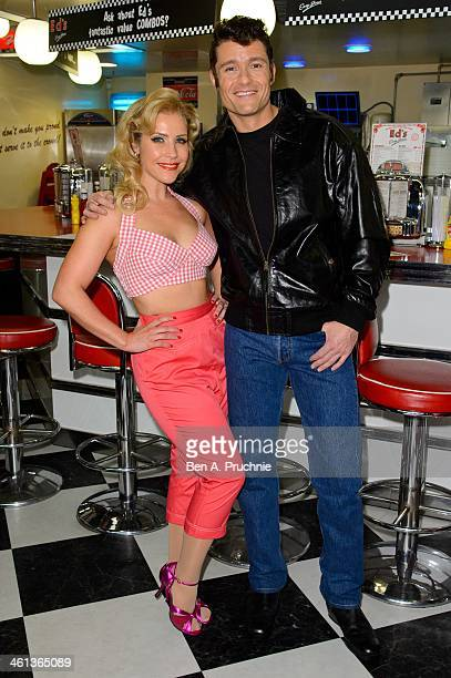 Heidi Range and Ben Freeman attend a photocall for new musical 'Happy Days' at Ed's Easy Diner on January 8 2014 in London England