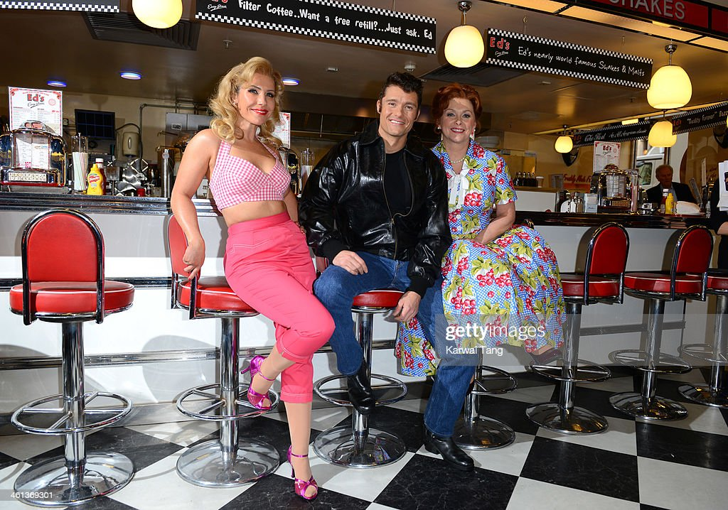 Heidi Range, Ben Freeman and Cheryl Baker attend a photocall for 'Happy Days - A New Musical' at Ed's Easy Diner on January 8, 2014 in London, England.