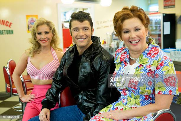 Heidi Range Ben Freeman and Cheryl Baker attend a photocall for new musical 'Happy Days' at Ed's Easy Diner on January 8 2014 in London England