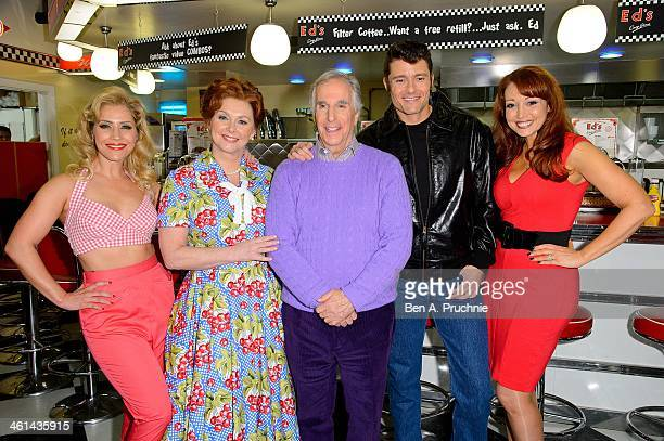 Heidi Range Cheryl Baker Henry Winkler Ben Freeman and Amy Anzel attend a photocall for new musical 'Happy Days' at Ed's Easy Diner on January 8 2014...